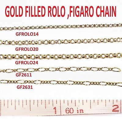 Gold Filled Chain  Rolo, Figaro Chain