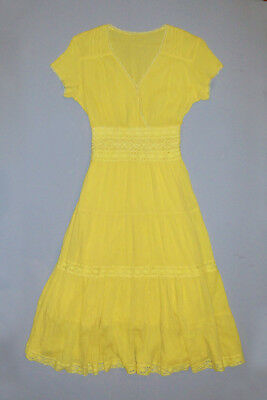 Old Antique Vtg C 1940s Womans Yellow Rayon Gabardine Ladies Dress Very Nice