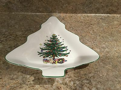 NIKKO Happy Holidays Fine Tableware Japan Christmas Tree Candy Dish Plate 9""