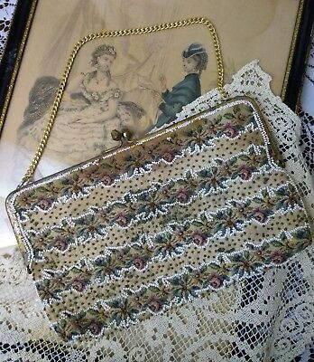 Vtg Antique Petit Point? Embroidery Beaded Clutch Purse Tapestry Floral Roses