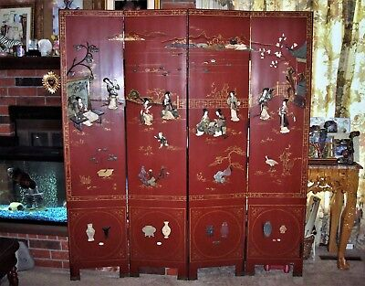 OLD 4 Folding Red Lacquer Wooden Panel Jade Mother of Pearl Chinese Room Divider