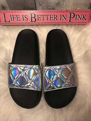 97eebda0844e Victoria s Secret PINK Slides Iridescent Quilted Silver Single Strap M 7-8  NEW