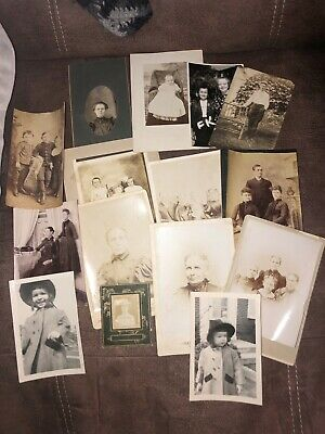 Mixed Lot of 15 Early Vintage Photographs Random Families Some Cabinet Cards