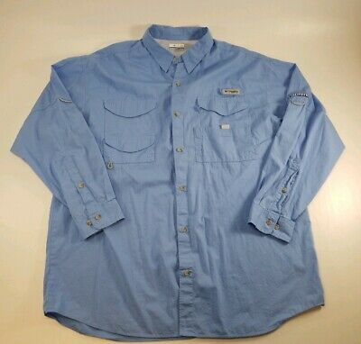 4eb3a12628c419 Columbia Sportswear Mens Blue Fishing Shirt Long Sleeve PFG Performance XL