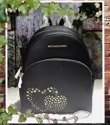 31027d59e3d5 NWT MICHAEL KORS ABBEY MEDIUM HEART STUDDED Backpack In BLACK/GOLD Leather  $398