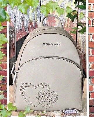 af6bafc1731e NWT MICHAEL KORS ABBEY MEDIUM HEART STUDDED Backpack In ASH GREY Leather  $398