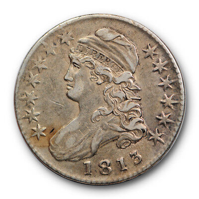 1813 50C Capped Bust Half Dollar Extra Fine XF Sharp Luster Remaining #RP83