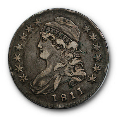 1811 50C Small 8 Capped Bust Half Dollar Extra Fine XF Toned Original #RP75