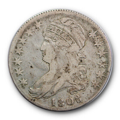 1808 50C Capped Bust Half Dollar Very Fine VF Original US Type Coin #5524