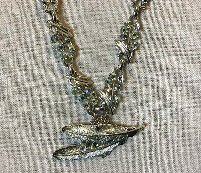 Cosplay/Steampunk- vintage up cycled necklace w/ feather, clear & green crystals
