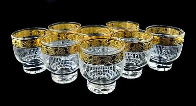 """Mid Century Culver 22Kt Gold """"Tyrol"""" Pattern Footed Old-Fashioned Glasses,Set/8"""