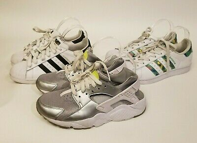 ADIDAS SUPERSTAR ORIGINAL Hawaii Nike Huarache Silver Kids Lot of 3 Size 45Y