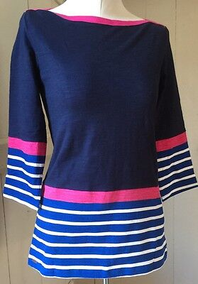 New Hatley Breton Navy Striped Top Hot Pink Trim sz S