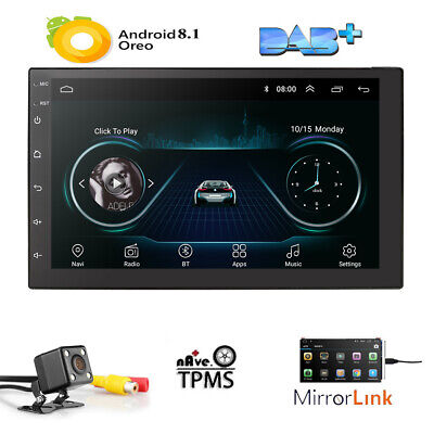 "7"" 2Din Quad Core Android 8.1 Car Stereo MP5 Player GPS Navi Radio WiFi BT+CAM E"