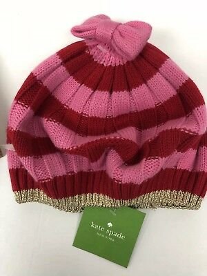8f24d99fea8b2 KATE SPADE BERET Hat Bow Striped Pink Red Metallic Gold Wool Blend ...
