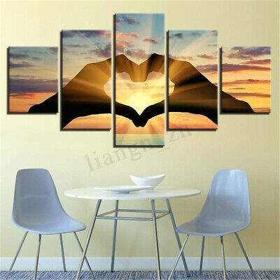 5PCS 3D Abstract Couple Love Canvas Print Painting Picture Home Wall Art Decor