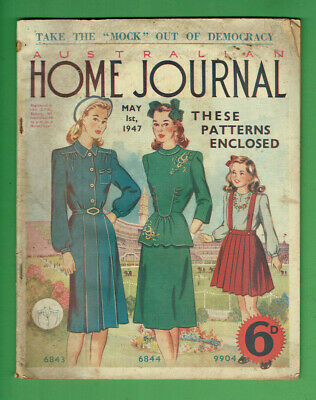 #t309.   Australian Home Journal Magazine - 1/5 1947, Patterns Included