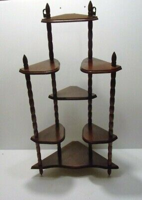 Vintage Wood Corner Spindle Wall Shelf