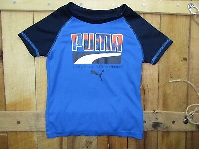 Puma Boys size 18 Months Short Sleeve Blue and Orange Athletic Shirt DM109