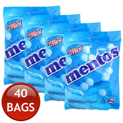 40 x MENTOS CHEWY MINT CANDY FRESH BREATH SOFT LOLLIES INDIVIDUALLY WRAPPED 135g