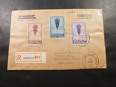Belgium Cover 22 Dec 1932 Balloon Combo Registered Schaerbeek To Ohio
