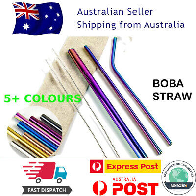 Eco Reusable Stainless Steel Metal Boba Bubble Tea Smoothie Drinking Straw Set