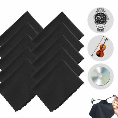 10 Pack Premium Microfiber Black Wipe Cleaning Cloths for Lens Glasses Screen TR