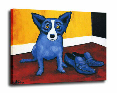 Blue Dog cartoon art painting home decor HD print canvas wall art picture 16X16