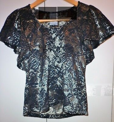 Shona Joy Black And Gold Lace Blouse Size 8 Excellent Condition