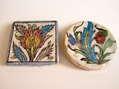 2 Antique Persian  Glaced Hand Painted Tile.