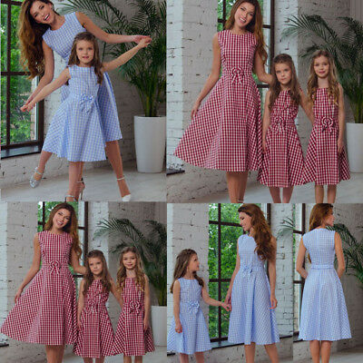 Fashion Mommy and Me Family Matching Dress Mother Daughter Plaid Holiday Dresses