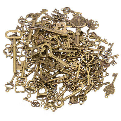 125pcs Creative Vintage Bronze Skeleton Keys Fancy Heart Bow Pendant Decor US