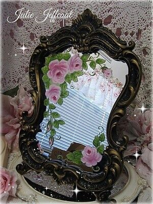 French ~Shabby ~Vintage Style ~Hand Painted ~Pink Roses ~Ornate ~Vanity ~ Mirror