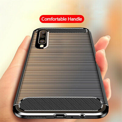 For Samsung Galaxy A70 A50 A40 A30 Shockproof Fiber Carbon Soft TPU Cover Case