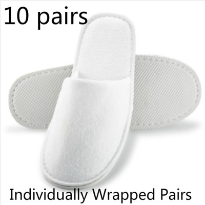 10 pairs SPA HOTEL GUEST SLIPPERS CLOSE TOE TOWELLING DISPOSABLE TERRY STYLE FF