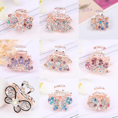 Ladies Girl Small Hair Claw Clamps Hair Clip Crystal Butterfly Claws Accessories