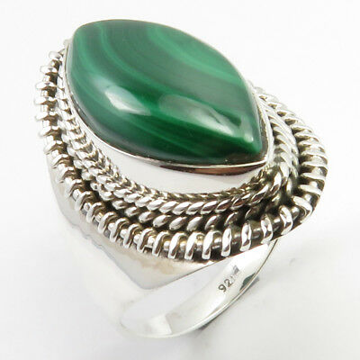 Sterling Silver Wholesale Jewelry Malachite Antique Style Finger Ring Sz 9.25