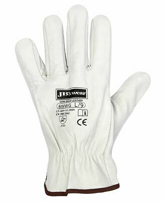 Jb's wear Quality Natural Cowhide Leather Rigger Glove CAT2 CE Compliant 12 PacK