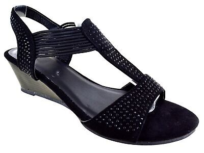 Ladies Womens Fancy Party Dress Beach Summer Low Heel Wedge Sandals Shoes Size