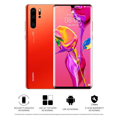 "New Huawei P30 Pro Amber Sunrise 6.47"" 512GB 8GB LTE Android 9 Sim Free Unlocked"