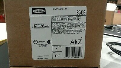 Hubbell B2432 Scrubshield 2 Gang Stamped Steel Floor Box **Free Shipping**