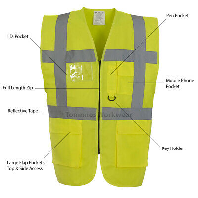 Premium Hi Vis Vest Executive Waistcoat Zipped Viz Mens Safety Jacket (HVW801)