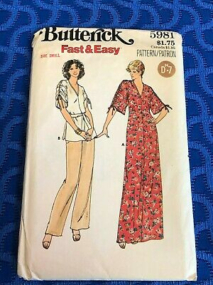 1970'S Butterick Sewing Pattern 5981 MISSES GATHERED SLEEVE TUNIC TOP DRESS 8-10