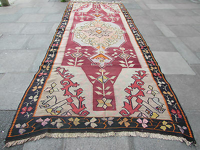 Antique Traditional Turkish Oriental Hand Made Kilim Rug 447x176cm Purple Wool