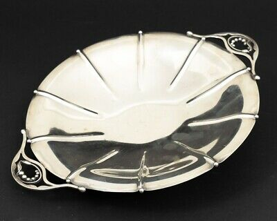 1940s Sterling Silver Lobed Bowl Tray Dish Beaded Flower Handles Jensen Style