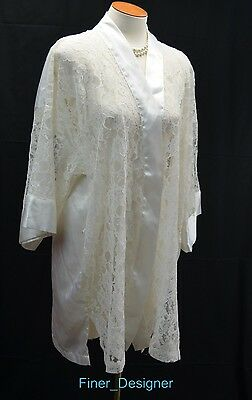 VICTORIA'S SECRET cream lace robe sexy short gown smoking lounge coat one size