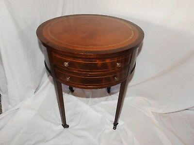Vintage Round Leather Top Inlay Mahogany Drum Table 300