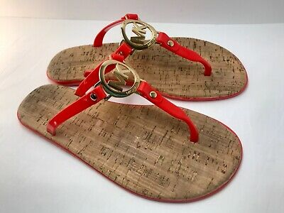615756aa2c26 MICHAEL KORS RED MK Logo Charm Jelly Cork Flip Flop Sandals Size 8 ...