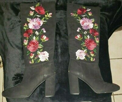 231f7be6697 KATE SPADE GREENFIELD Suede Embroidered Floral Rose Block Heel Tall ...