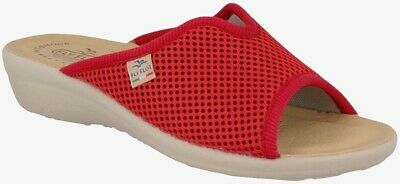 Fly Flot T4429 Fe Rosso Ciabatte Donna Made In Italy Sottopiede Vera Pelle Antis